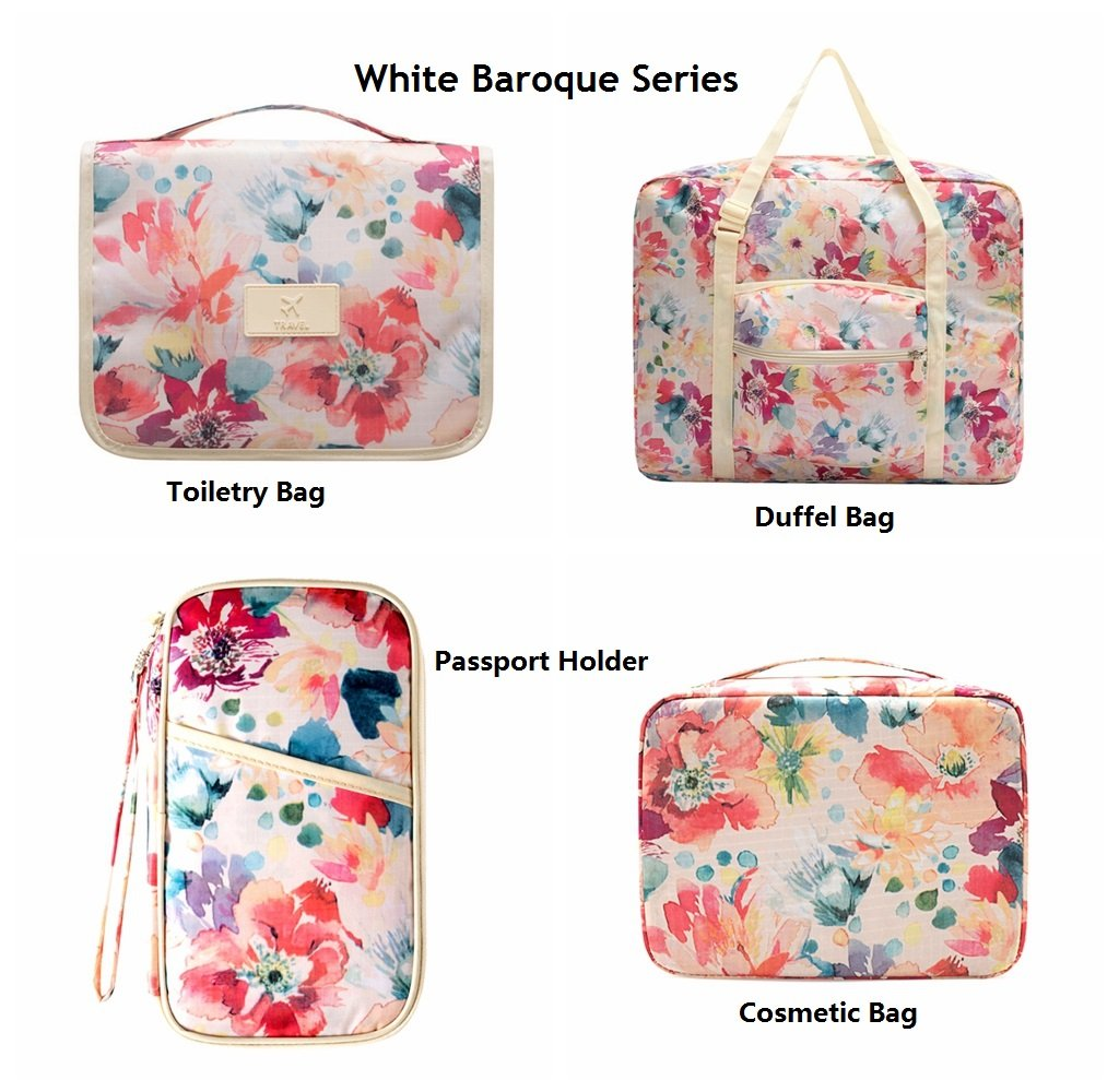 Ac.y.c Travel Duffel Bag for Women Foldable Floral Print Carry On Express Weekender Organizer For Gym Sports (White Floral) by Ac.y.c (Image #3)