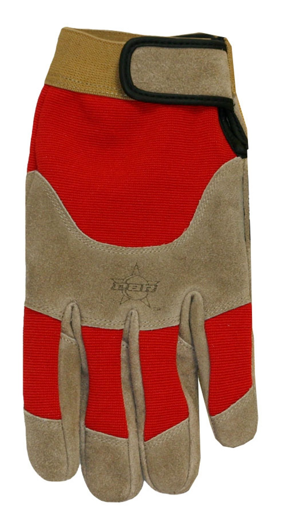 Professional Bull Rider (PBR) Suede Cowhide Leather Work Glove, Extra-Large, Brown/Red, PB200