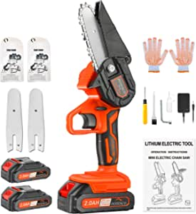 POTENCO Mini Chainsaw, 2.0Ah Handheld Electric Chainsaw with Security Lock, 4-Inch 1.65lbs Mini ChainSaw Cordless for Garden Tree Branch Wood Cutting(Incl. 2x Battery,2x Chain,2x Guide Bar)