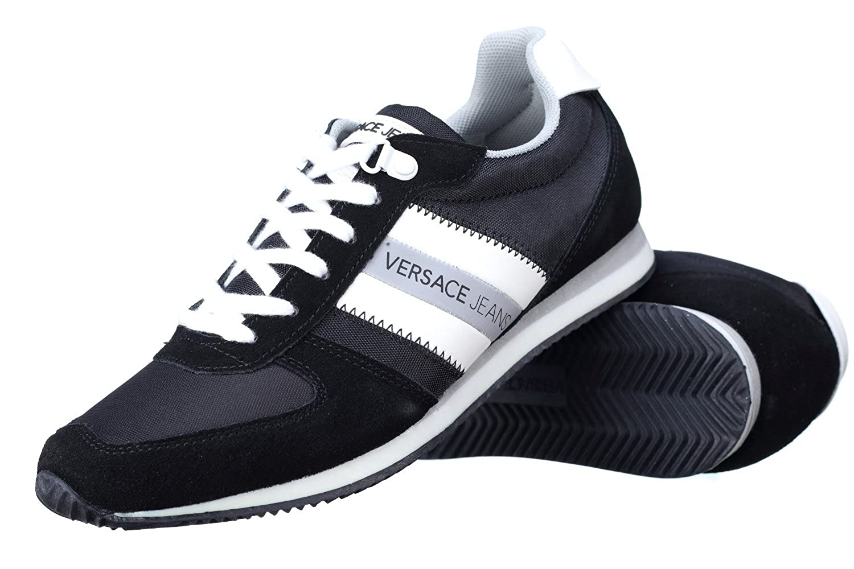 Versace VersaceSneaker Uomo Disa3 Suede/Nylon - Cesta Hombre, Negro (Negro), 40 EU