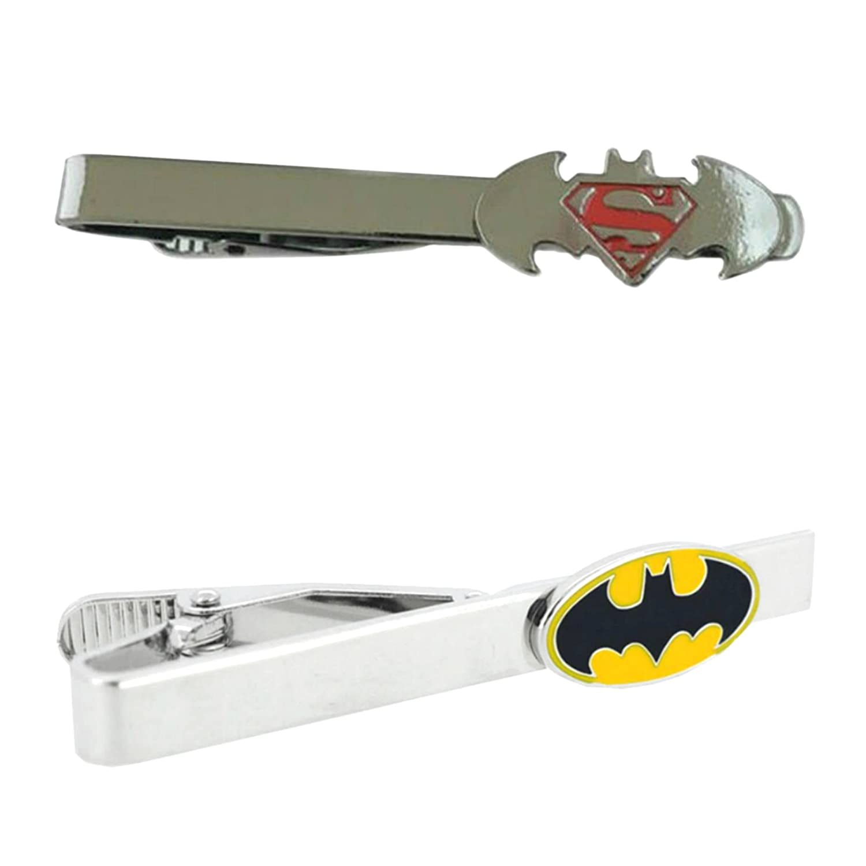Outlander DC Comics - Batman Cutout & Batman - Tiebar Tie Clasp Set of 2 Wedding Superhero Logo w/Gift Box Outlander Brand