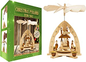 Christmas Decoration German Pyramid - 11 Inches - Wood Nativity Scene Play Set - Table Top Holiday Decor - Nativity Play Carousel with 4 Candle Holders - German Design