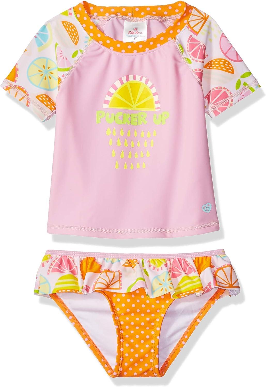 Skechers Girls Little Swim Suit Set with Short Sleeve Rashguard