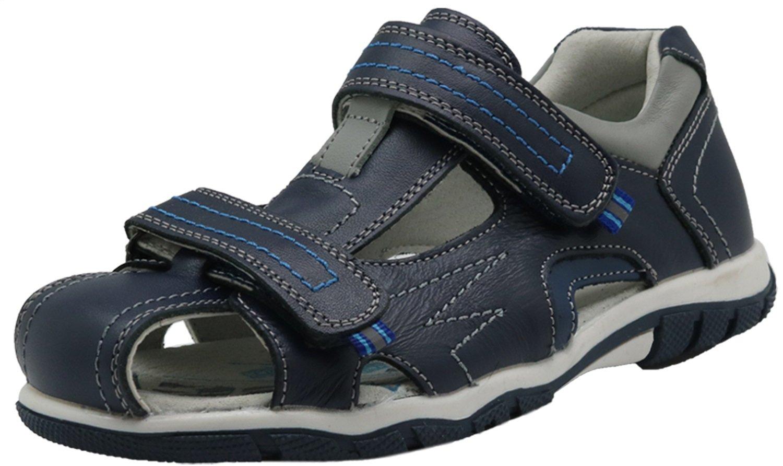Apakowa Boy's Double Adjustable Strap Closed-Toe Leather Sandals (Toddler/Little Kid/Big) (Color : Darkblue333, Size : 5 M US Big Kid)