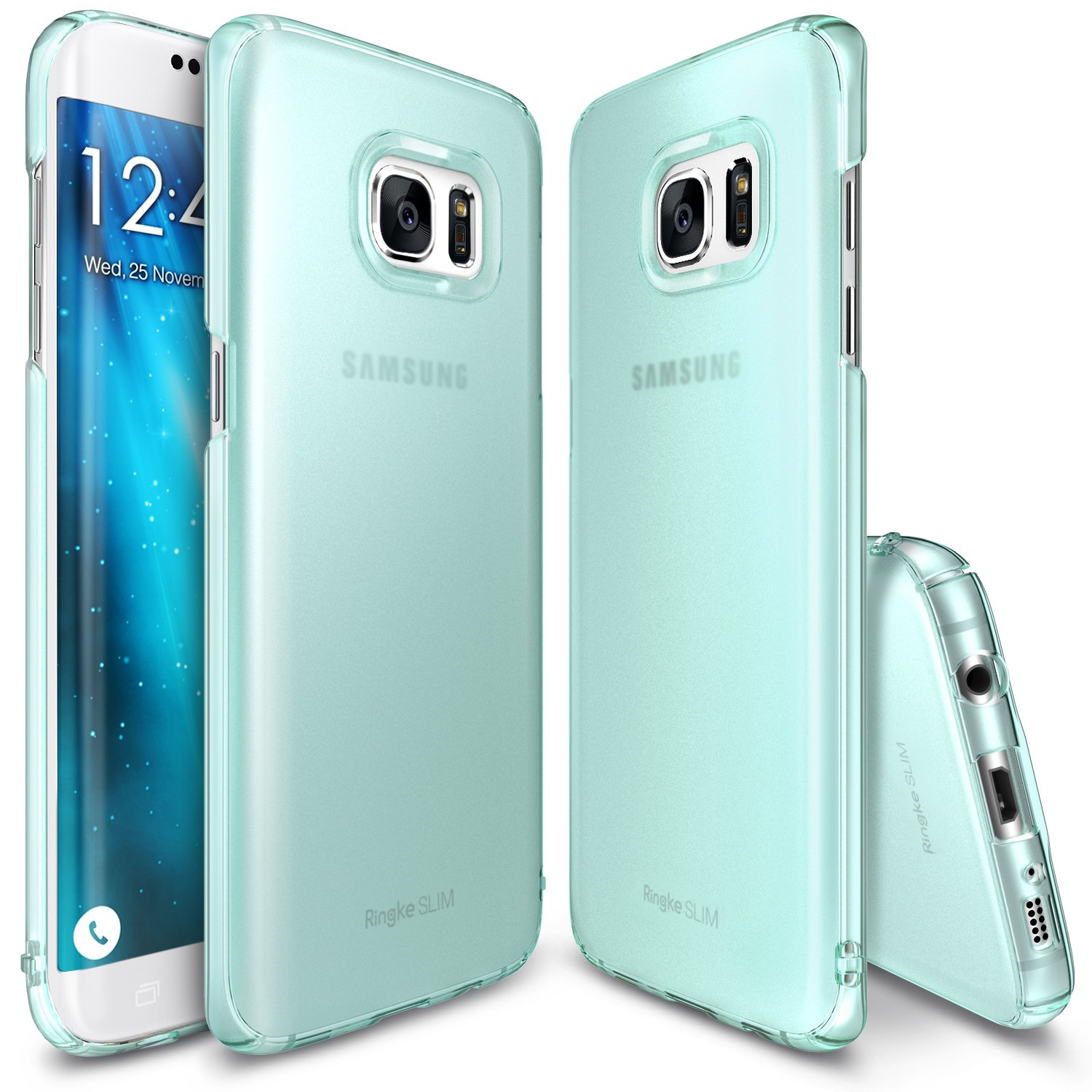 Galaxy S7 Edge Case, Ringke [SLIM] Snug-Fit Slender [Tailored Cutouts] Lightweight & Thin Side to Side Edge Coverage Scratch Resistant PC Hard Skin for Samsung Galaxy S 7 Edge 2016 - Frost Mint
