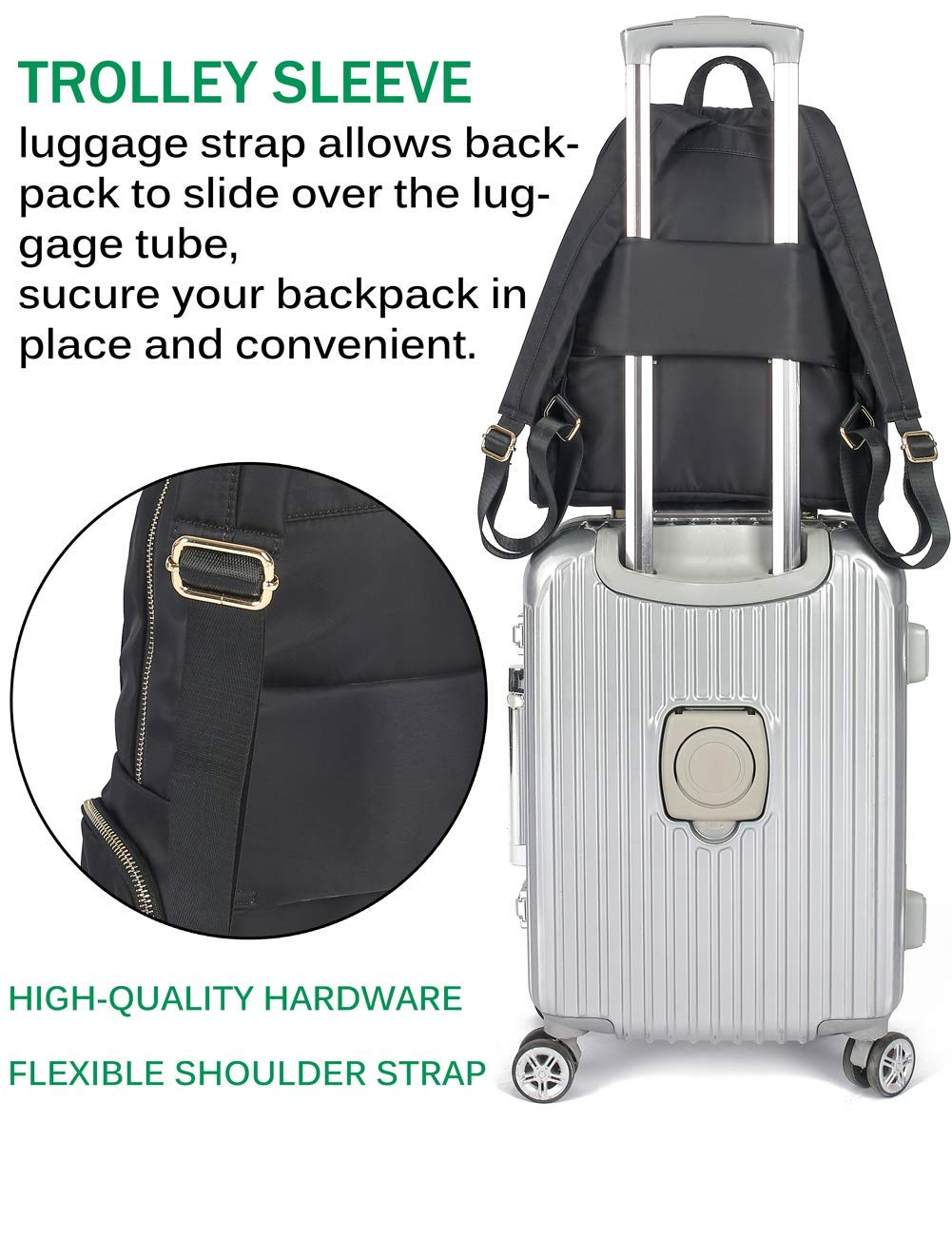 1ee30fdb0060 Luckysmile Women Girl Casual Nylon Backpack Purse Travel Work College  School Bag ZIW-Backpack129-
