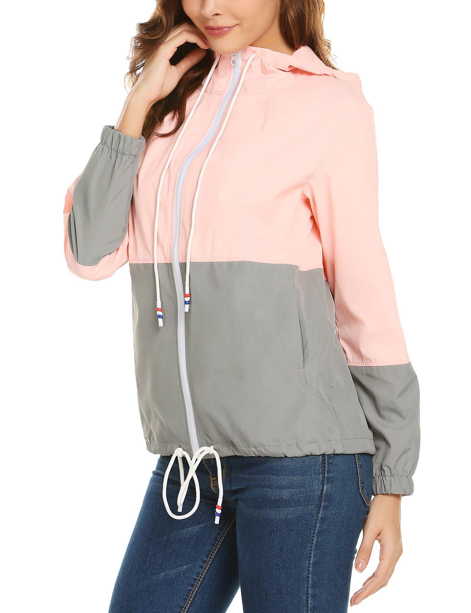 ZHENWEI Women's Lightweight Raincoat Zip up Casual Hoodie Rain Jacket Pink L by ZHENWEI (Image #5)