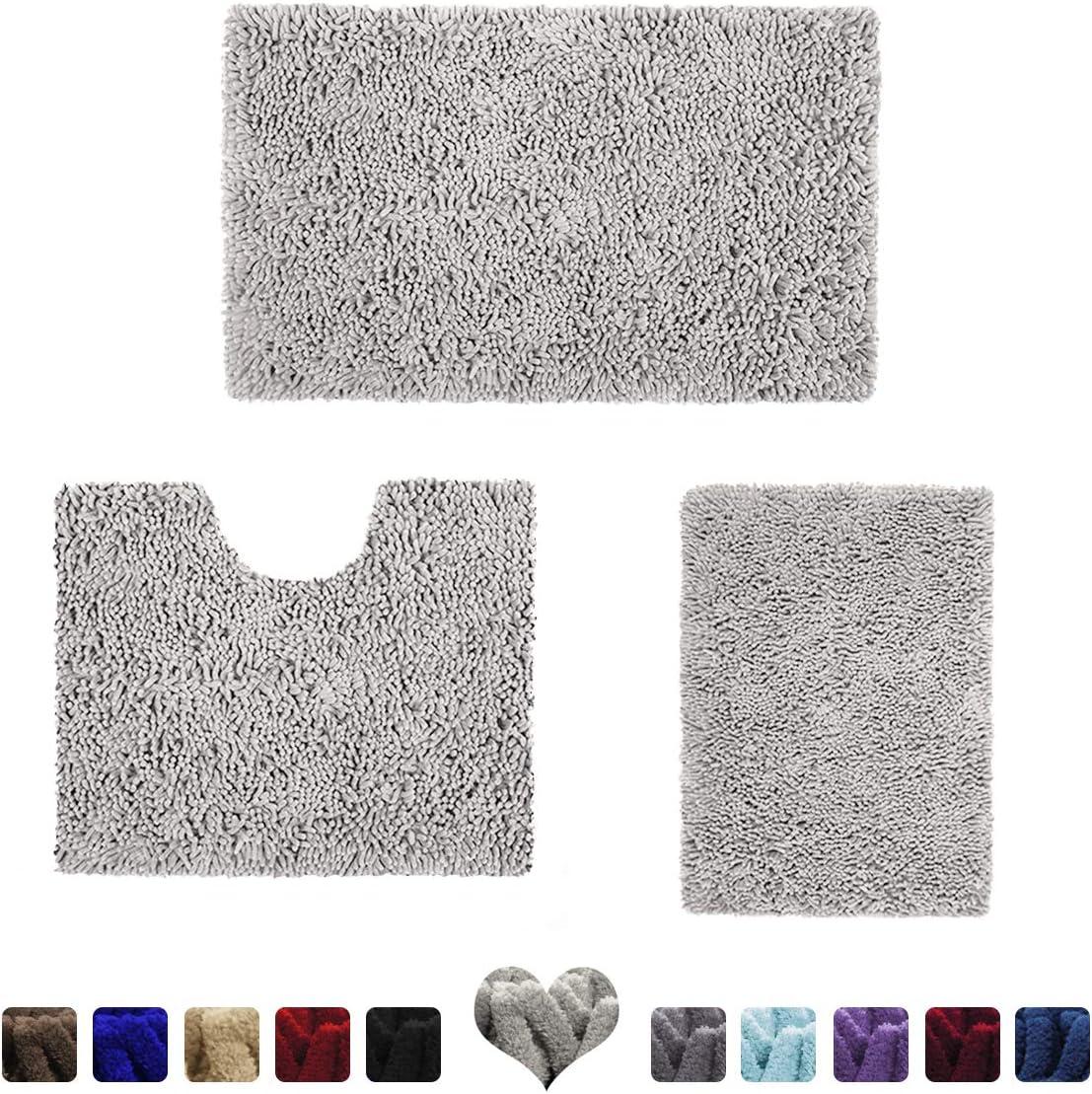 HOMEIDEAS 3 Pieces Bathroom Rugs Set Light Grey, Extra Soft Chenille Bath Rugs Mat, Absorbent Plush Shaggy Bath Rugs, Machine Washable & Non Slip Bath Rugs for Bathroom, Tub, Shower