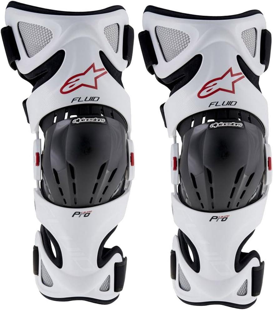 6501316-213-S//L White//Black//Red, Small//Large Alpinestars Unisex-Adult Fluid Pro Knee Brace Set