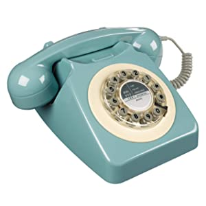 Rotary Design Retro Landline Phone for Home, French Blue