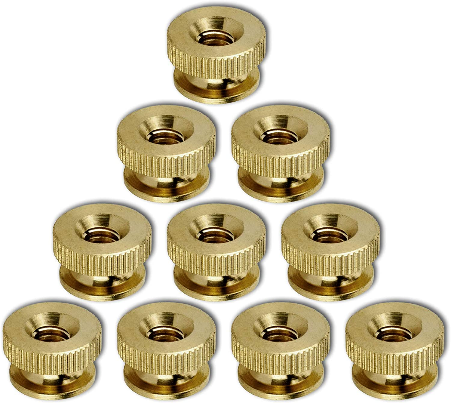 Solid Brass Knurled Thumb Nuts Lock Nuts for Wheels Super S Round and Round Super Deal Pack Knurled Thumb Knurled Nuts Thumb Nut Brass 5//16-18 Super-Deals-Shop 10 Pcs