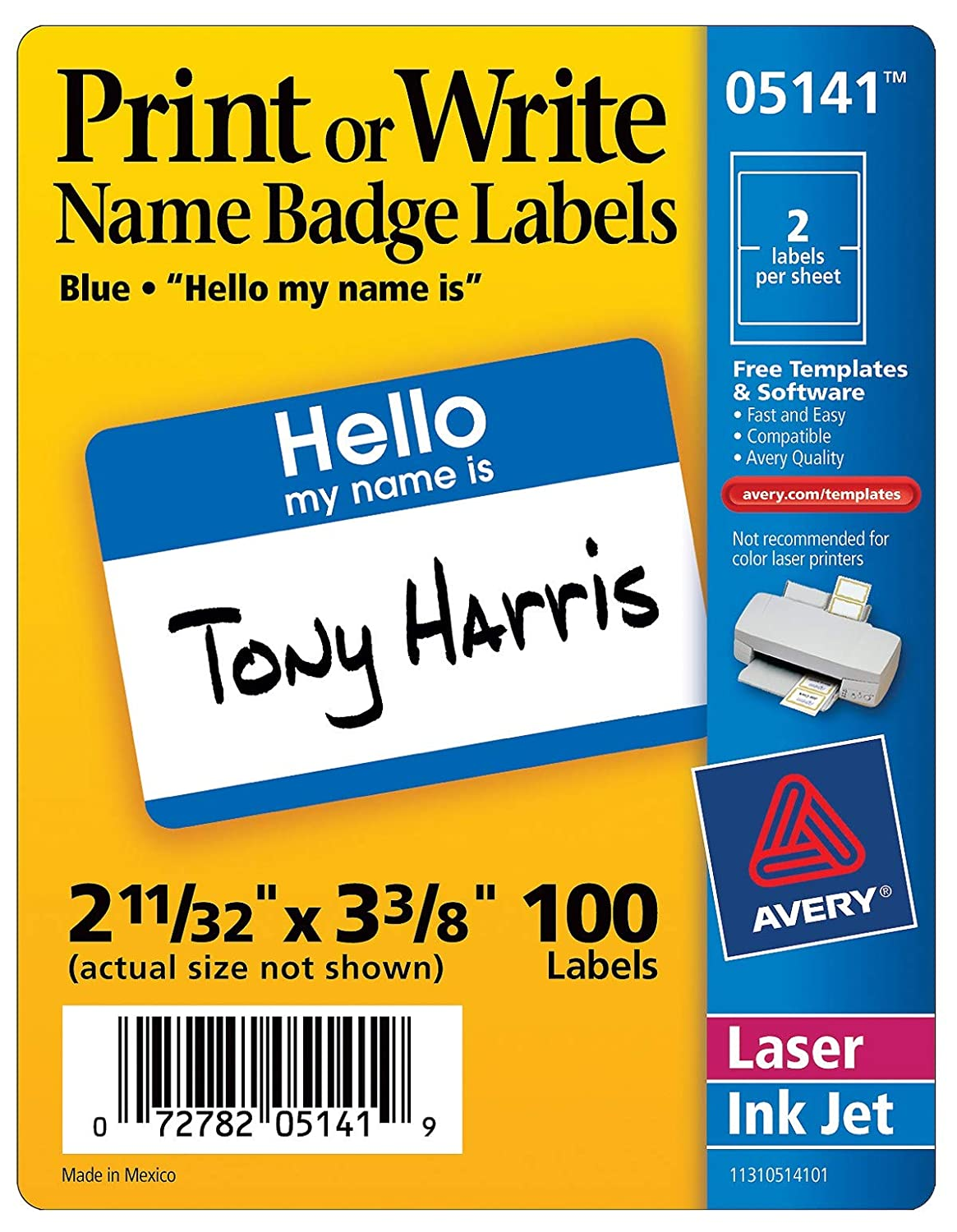 Avery 05141 Name Badge Labels 100 Count AVE5141