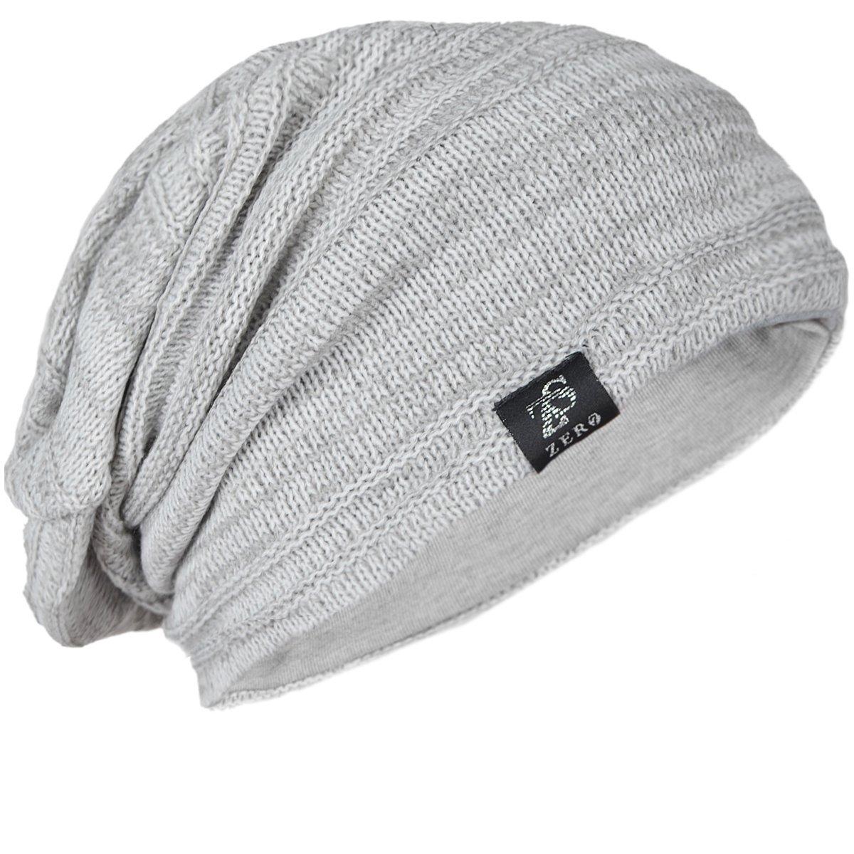 26846de9243fa9 Z&S Vintage Men Baggy Beanie Slouchy Knit Skull Cap Hat (Light Gray with  White)