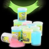 Kicko Glow in The Dark Slime - 12 Pack Assorted Neon Colors - Green, Blue, Orange and Yellow for Kids, Party Favors, Goody Ba