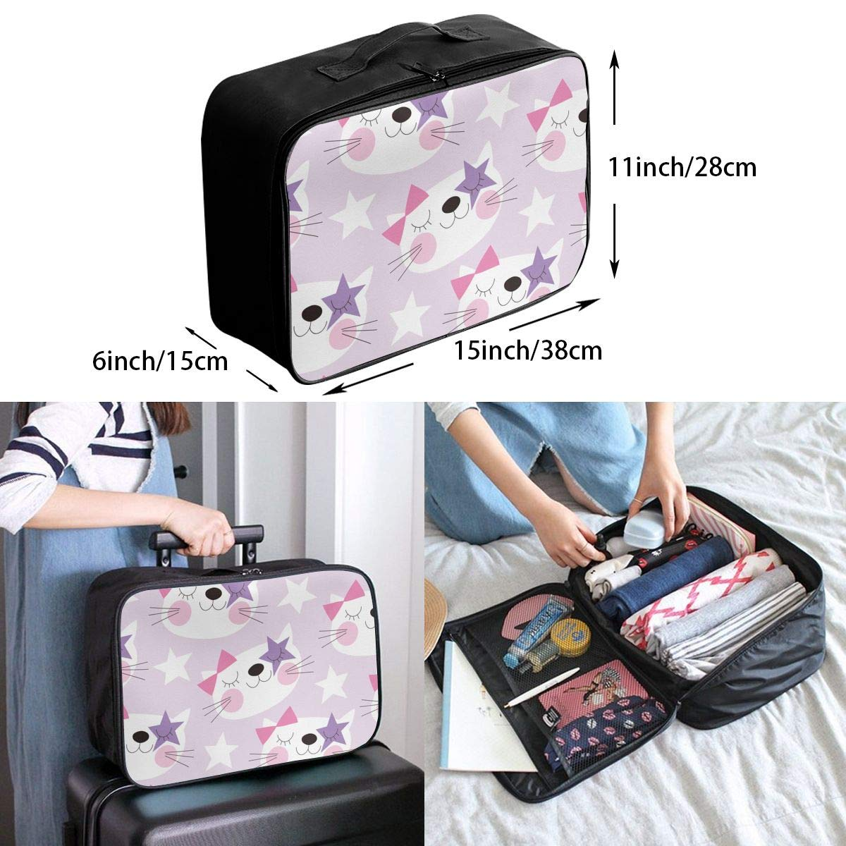 Cute Star Cat Travel Duffel Bag Waterproof Fashion Lightweight Large Capacity Portable Luggage Bag