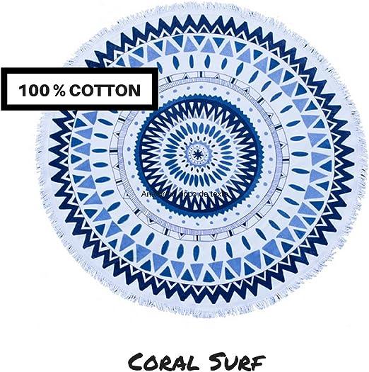 Coralsurf Toalla de Playa 100% Algodón (Mandala Azul): Amazon.es ...