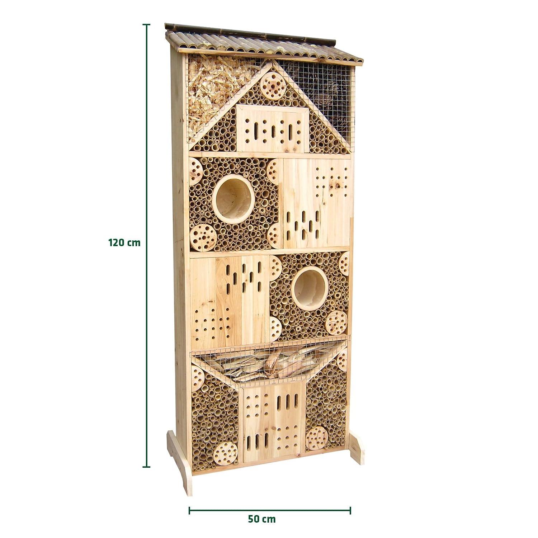 Gardigo Insektenhotel XXXL 1,20 m hoch, Nistkasten und Bruthilfe für Bienen, Schmetterlinge, Marienkäfer, Florfliegen etc.