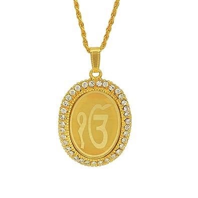 Memoir gold plated cz studded ek onkar symbol embossed sikh memoir gold plated cz studded ek onkar symbol embossed sikh sardar punjabi khalsa pendant jewellery aloadofball Choice Image