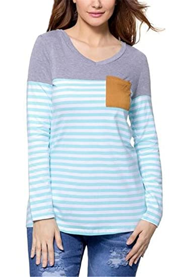 AILIENT Mujer Camiseta Blusa Mangas Largas Cuello Redondo Casual Elegante A Rayas Patchwork Oficina Blouses T Shirt Delgada Blusas: Amazon.es: Ropa y ...