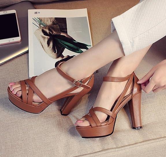 Sandalias Cuero De Verano Zapatos Genuino Jazs® Grueso Tacón STqECn