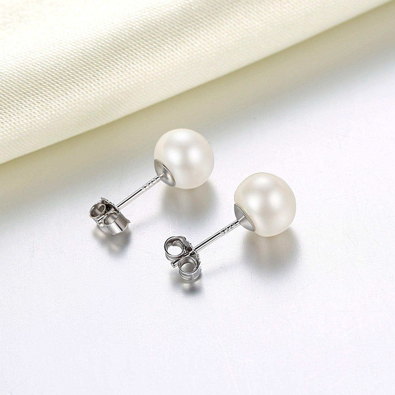 9f5a1e04a Pearl Earrings for Women 7-8mm Freshwater Cultured Pearl Stud Earrings 925  Sterling Silver -