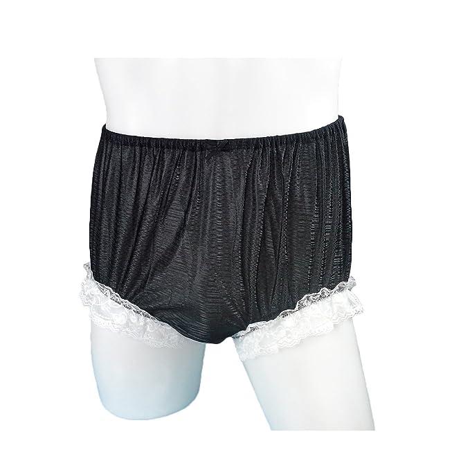 Sfh01d14 Black Handmade Lace Strip Panties Briefs Sheer Nylon Underwear For Women Men Plus Size