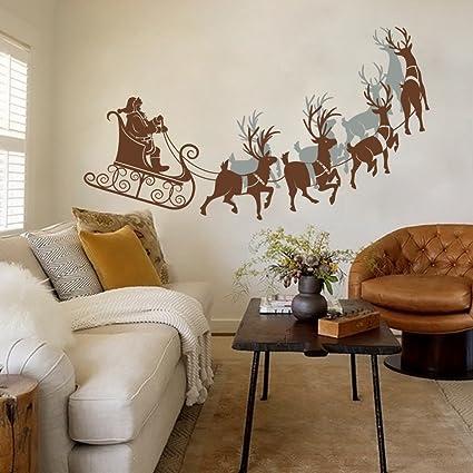 Decal Santa on Sleigh Home Wall Decal Christmas Wall Art Vinyl Sticker