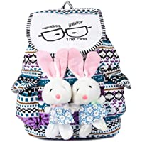 Orange Bags Canvas Bunny Backpack Bag for Women and College Girls (Multi Colour)