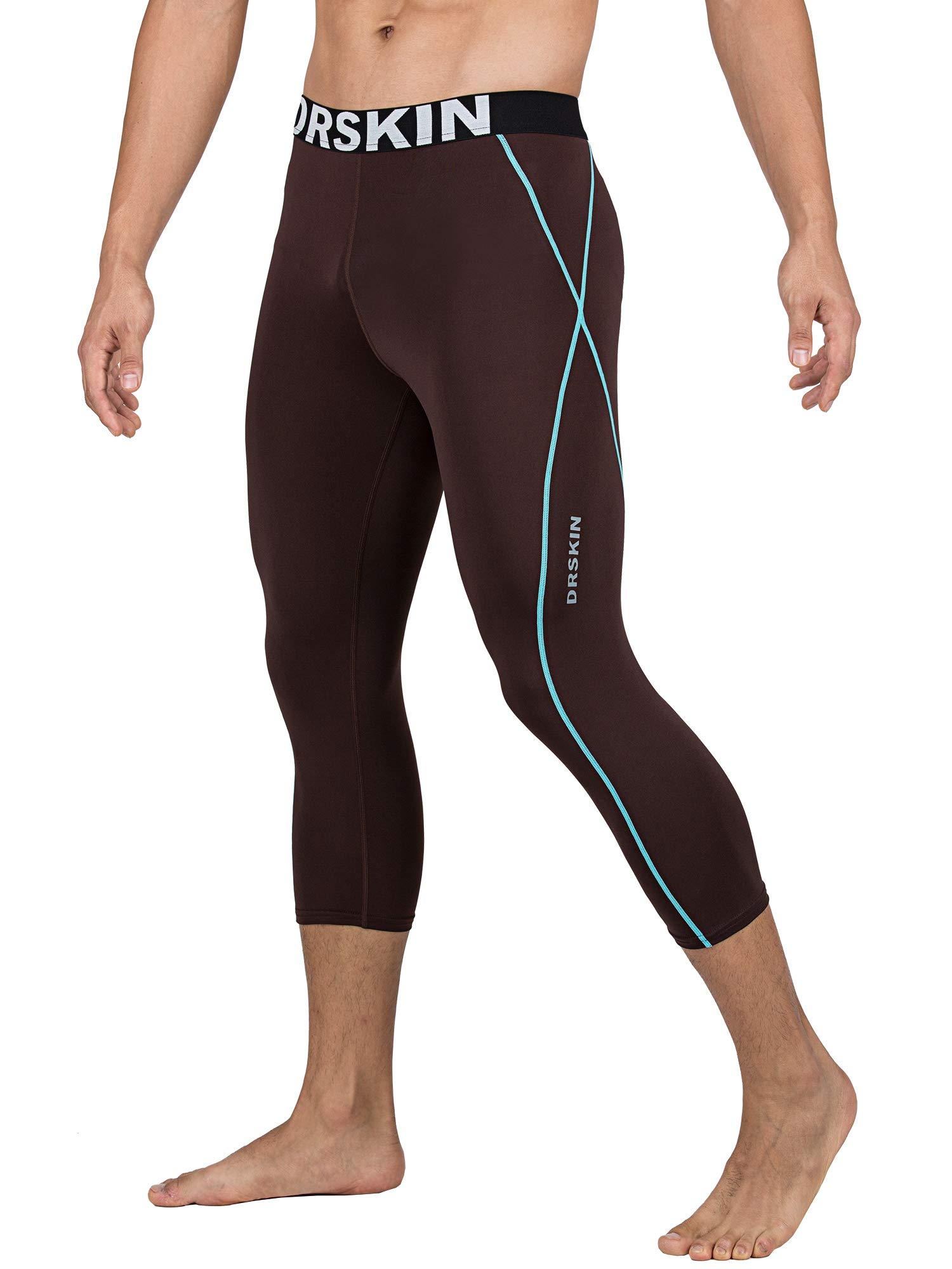 DRSKIN] Tight 3/4 Compression Pants Base Layer Running Pants Men (2XL, BR-MT816) by DRSKIN