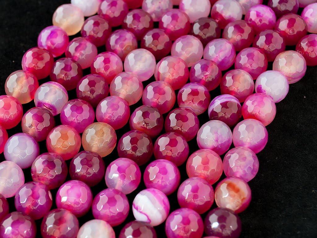 Beads Ok, DIY, Ágata, Cian, Teñido, 4mm, Abalorio, Cuenta, Mostacilla o Chaquira De Piedra Semipreciosa, Bola Facetada, Cerca de los 37cm un Tira. (Agate, Magenta, Color Enhanced, Faceted Round Bead)