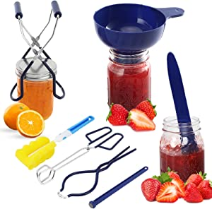 Canning Kit, 7PCS Canning Starter Kits, Canning Supplies for Home Canning Include Canning Funnel, Jar Lifter, Jar Wrench, Lid Lifter, Canning Tongs, Bubble Popper, Cleaning Tool (blue)