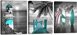 Arjun Canvas Wall Art Teal Ocean Lighthouse Painting Palm Tree Surfboard Picture Prints 3 Panels Coastal Beach Trestle Modern Seascape Blue Artwork for Bedroom Kitchen Dinning Room Bathroom Home Décor