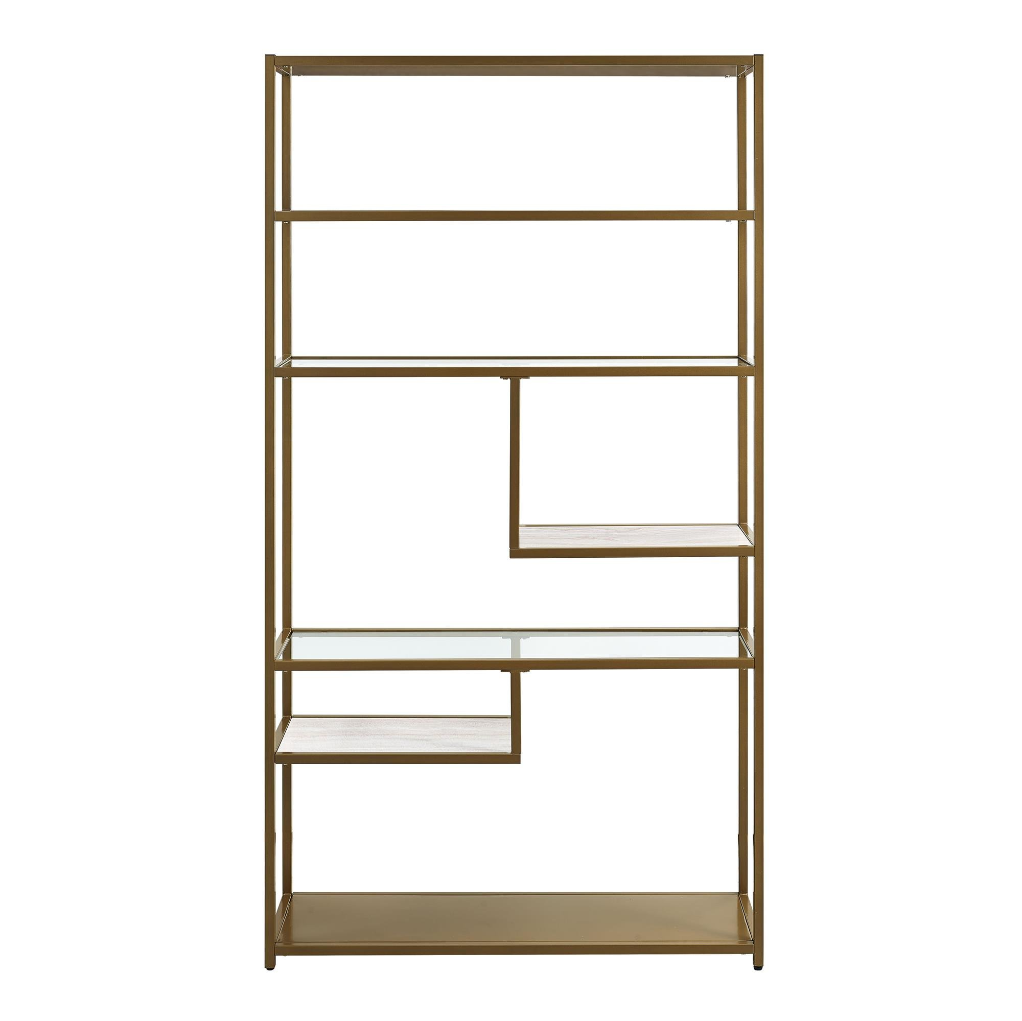 Dorel Living Moriah Geometric Bookcase Etagere, Soft Brass