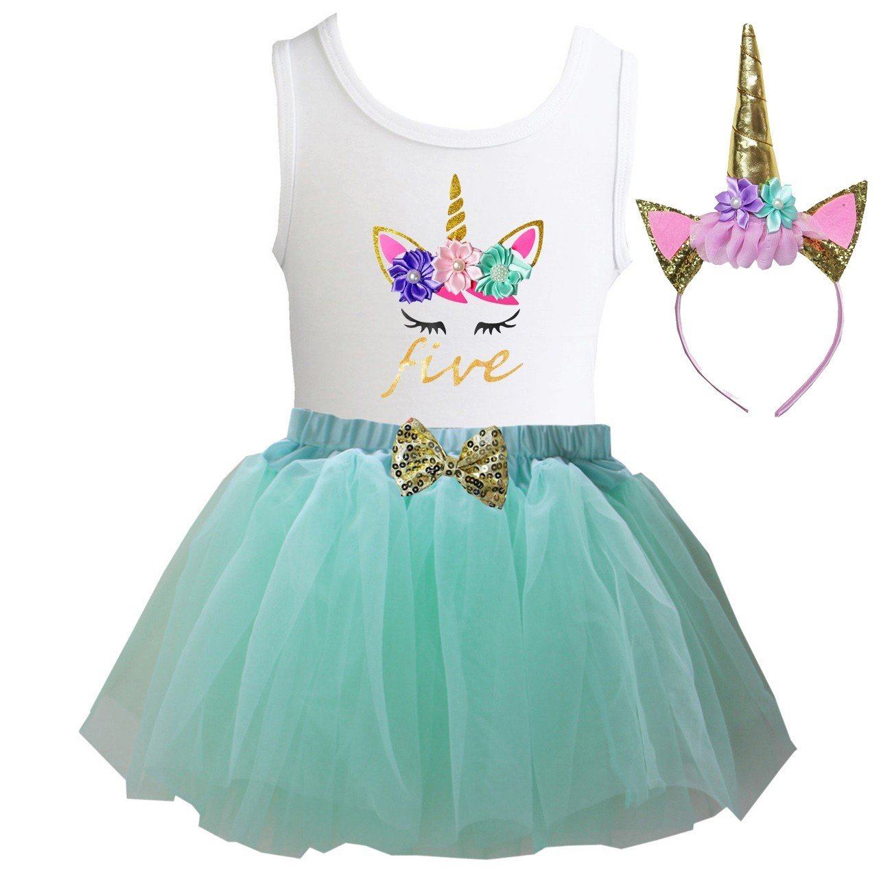Kirei Sui Girls Mint Tulle Tutu Birthday Unicorn M Five