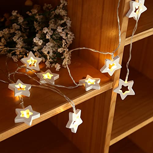 Excelvan 2.5m/8ft Wooden Star 10 LED Fairy String Lights Battery Operated Indoor and Outdoor Decoration for for Christmas,Halloween Festival, Holiday, Party, Wedding,Birthday (Warm White)