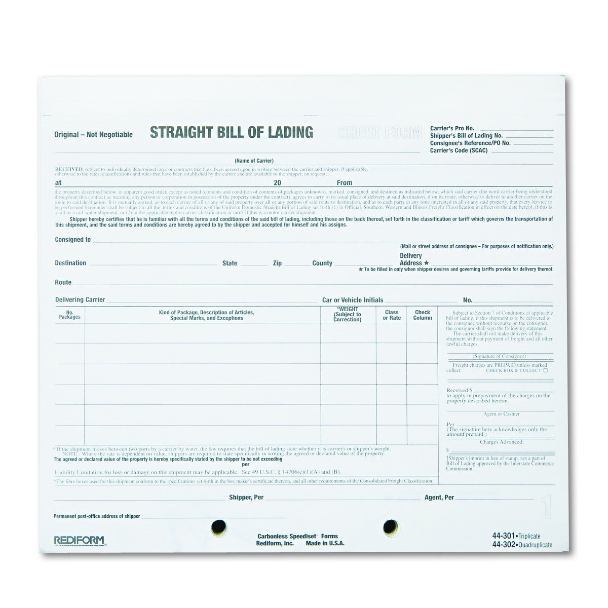 Rediform 44302 Bill of Lading Short Form, 7 x 8 1/2, Four-Part Carbonless, 250 Forms