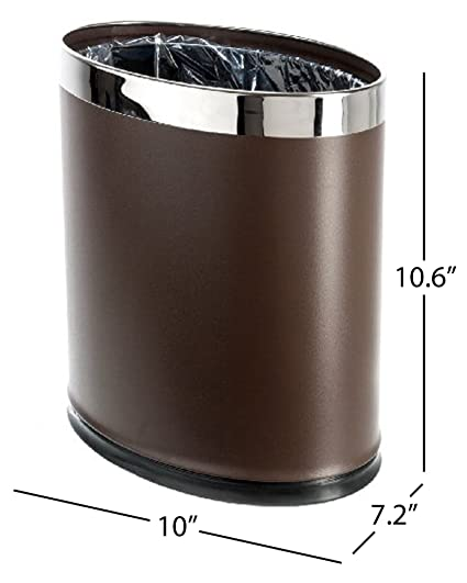Brelso U0027Invisi Overlapu0027 Metal Trash Can, Open Top Small Office Wastebasket,