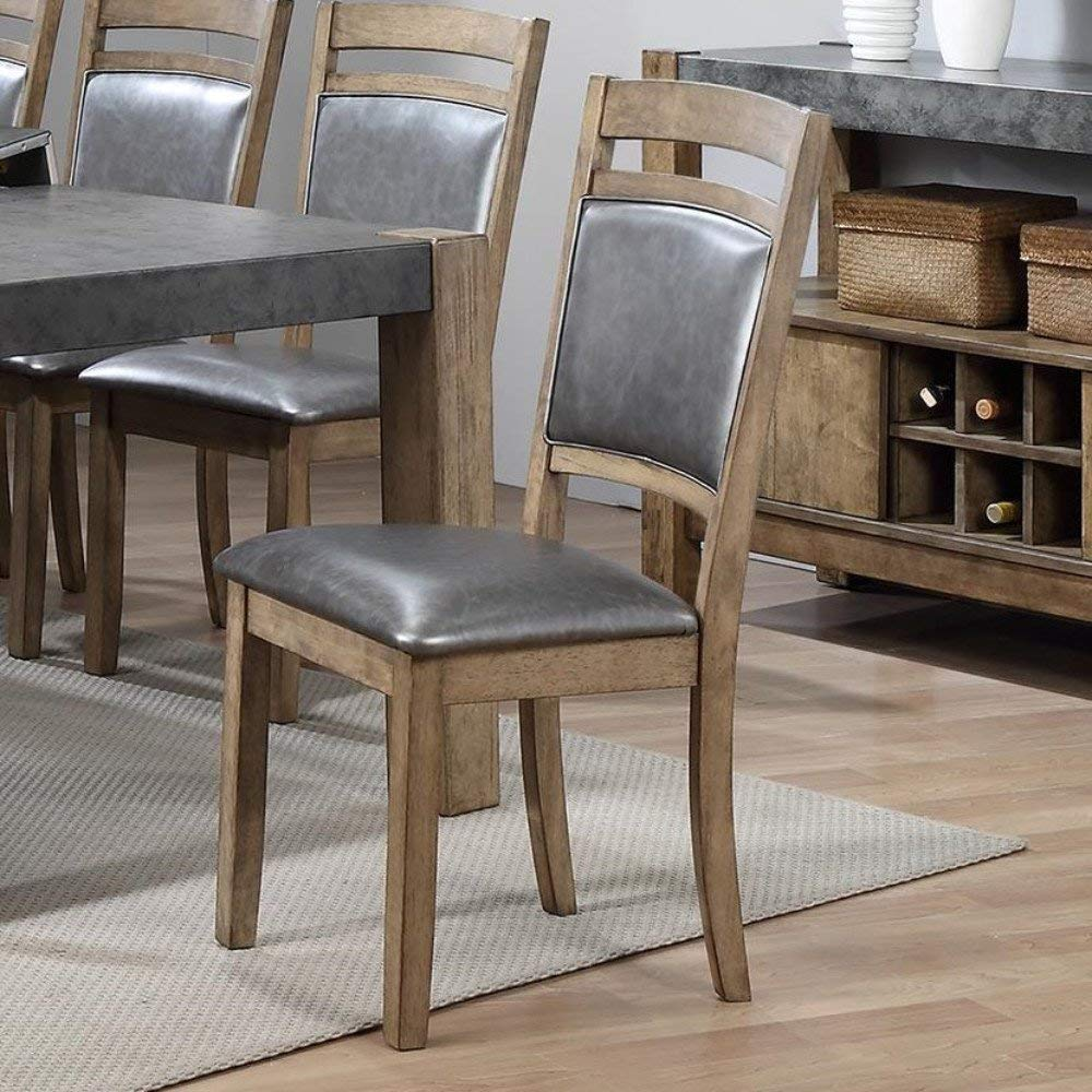 Amazon com set of 4 modern grey faux leather upholstered seat dining chairs with brown rubber wood and stone embossing back table chair sets