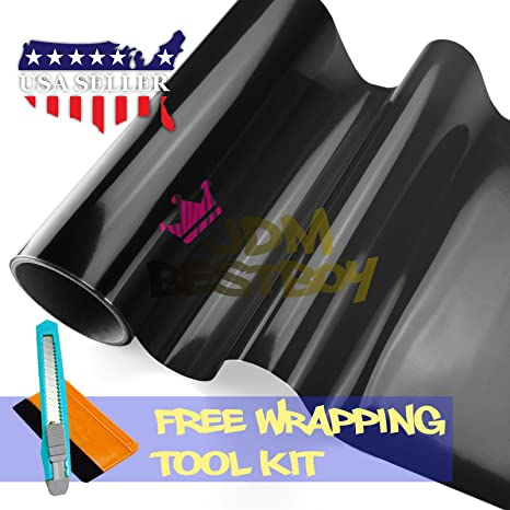 Free Tool Kit 12x12 1FT x 1FT Glossy Dark Blue Headlight Taillight Fog Light Side Marker Vinyl Tint Film Self Adhesive
