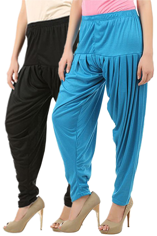 Buy That Trendz Women's Cotton Viscose Lycra Dhoti Patiyala Salwar Harem Bottoms Pants Black Turquoise Combo Pack of 2 (B07GXD4JGV) Amazon Price History, Amazon Price Tracker