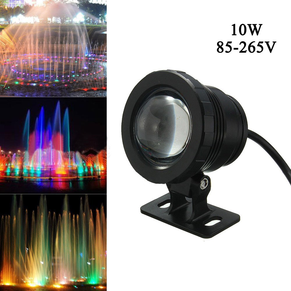 Cacys Store 10W Waterproof RGB Led Underwater Light AC85-265V Fountain Swimming Pool Landscape Lamp W/Controller (Black)