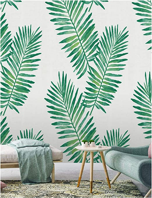 Haokhome 93024 Tropical Palm Peel And Stick Wallpaper Removable Green White Vinyl Self Adhesive 17 7in X 9 8ft Amazon Com