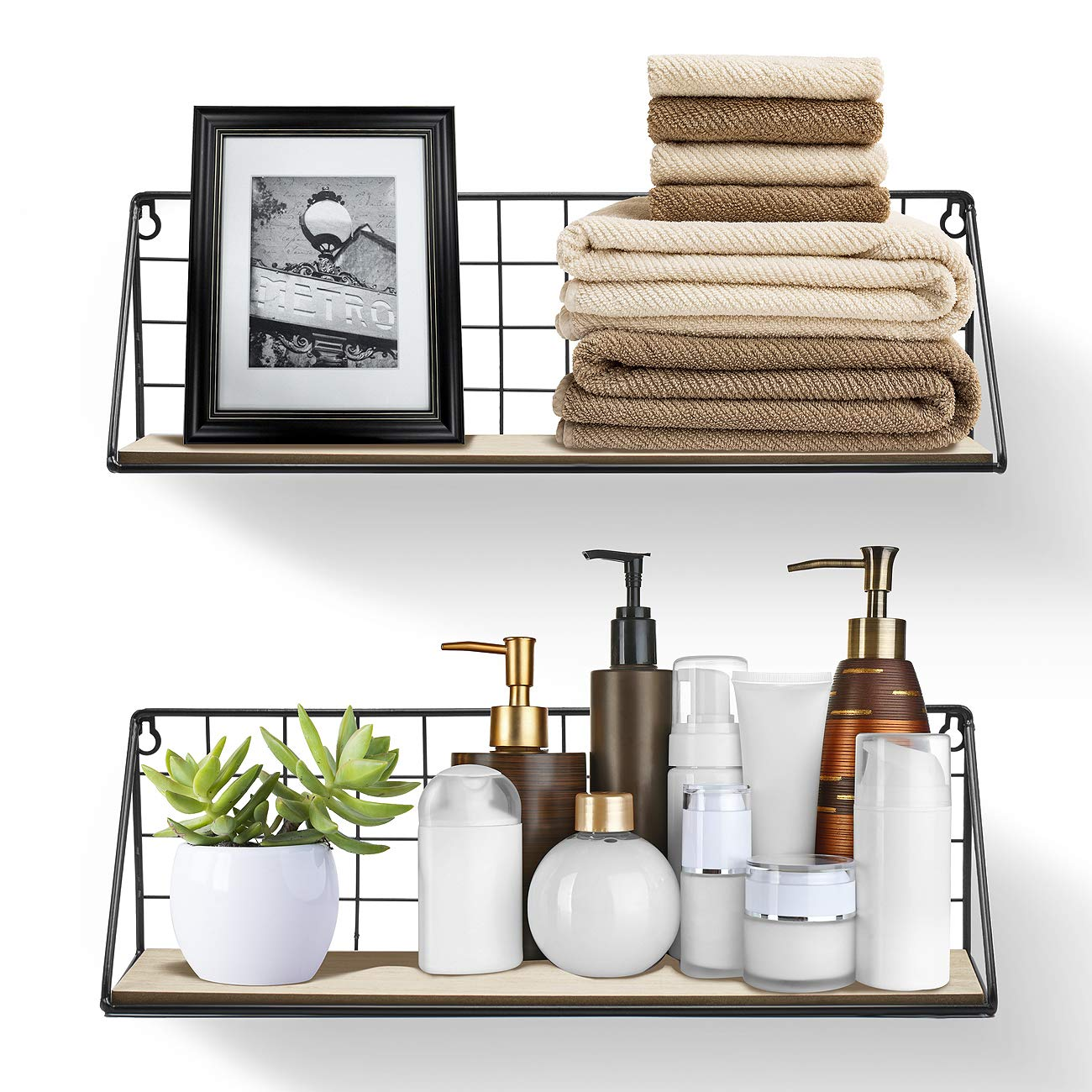 Bathroom Decorative Items etc Office Bedroom Sorbus Floating Shelves Wall Mounted Rustic Wood Storage Set for Picture Frames Great for Living Room Collectibles FLT-MTLSHLA Kitchen 2-Pack, Natural