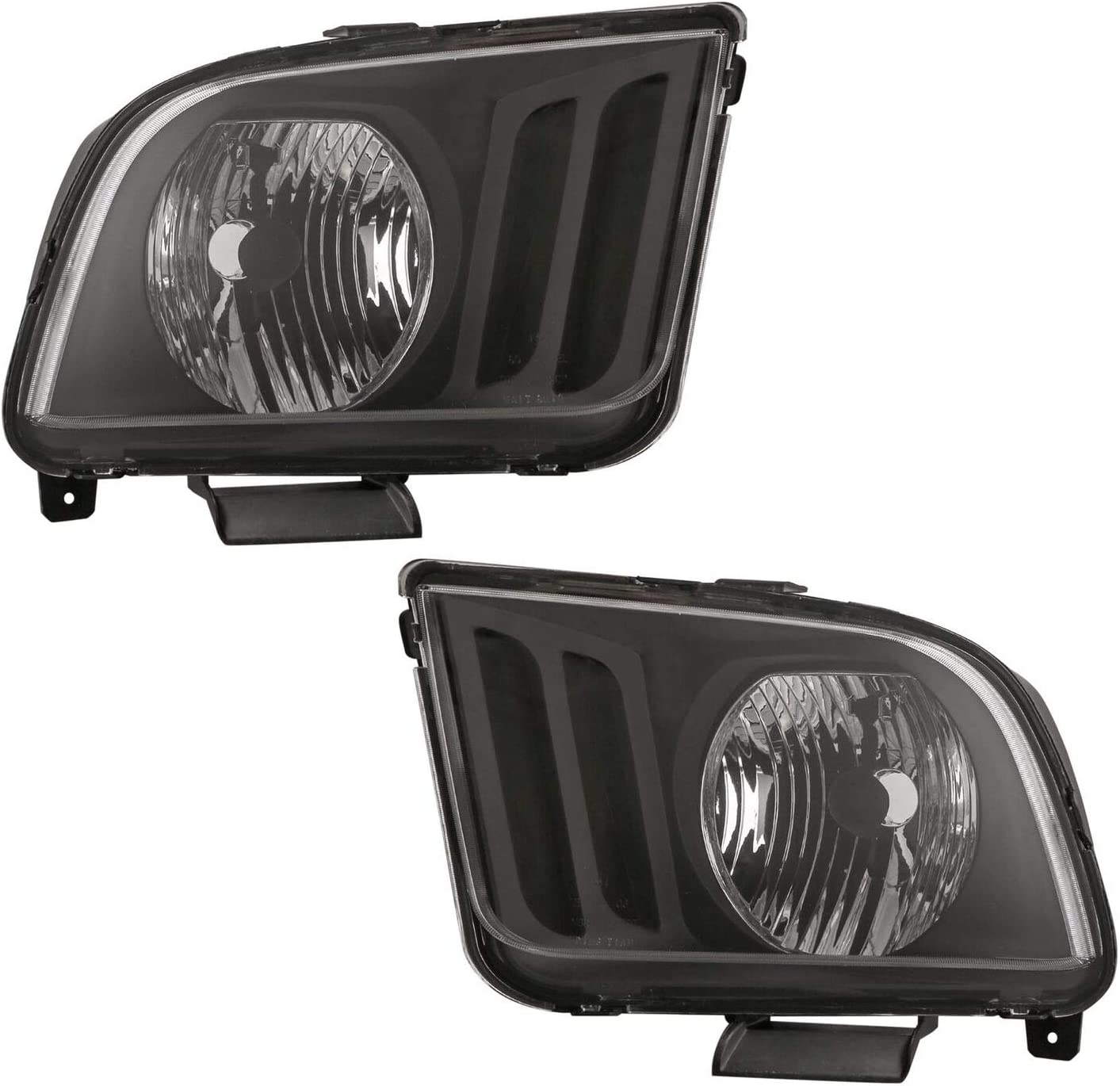 Set of 2 MOSTPLUS Headlight Assembly Compatible with 2005 2006 2007 2008 2009 Ford Mustang-Black Housing w//Clear Lens Front Lamp