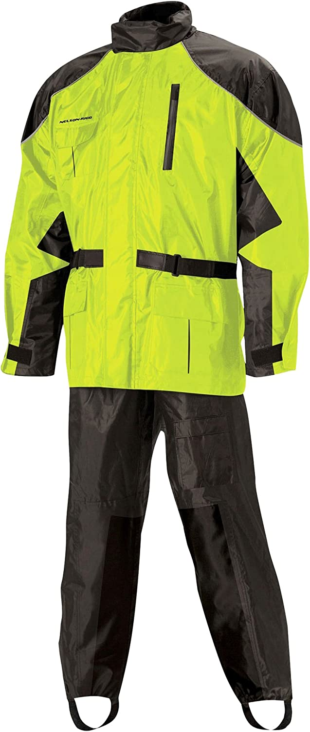 5927026338 Nelson Rigg Unisex Adult AS-3000-HVY-03-LG Aston Motorcycle Rain Suit 2-Piece, (Hi-Visibility Yellow, Large) 71s0LV-9UhL