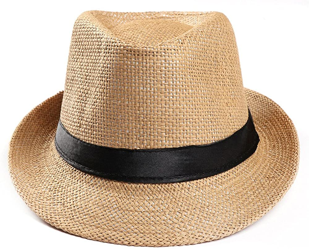 DORIC 2019 Unisex Trilby Gangster Cap Beach Sun Straw Hat Band Sunhat Solid Color Relaxed Adjustable