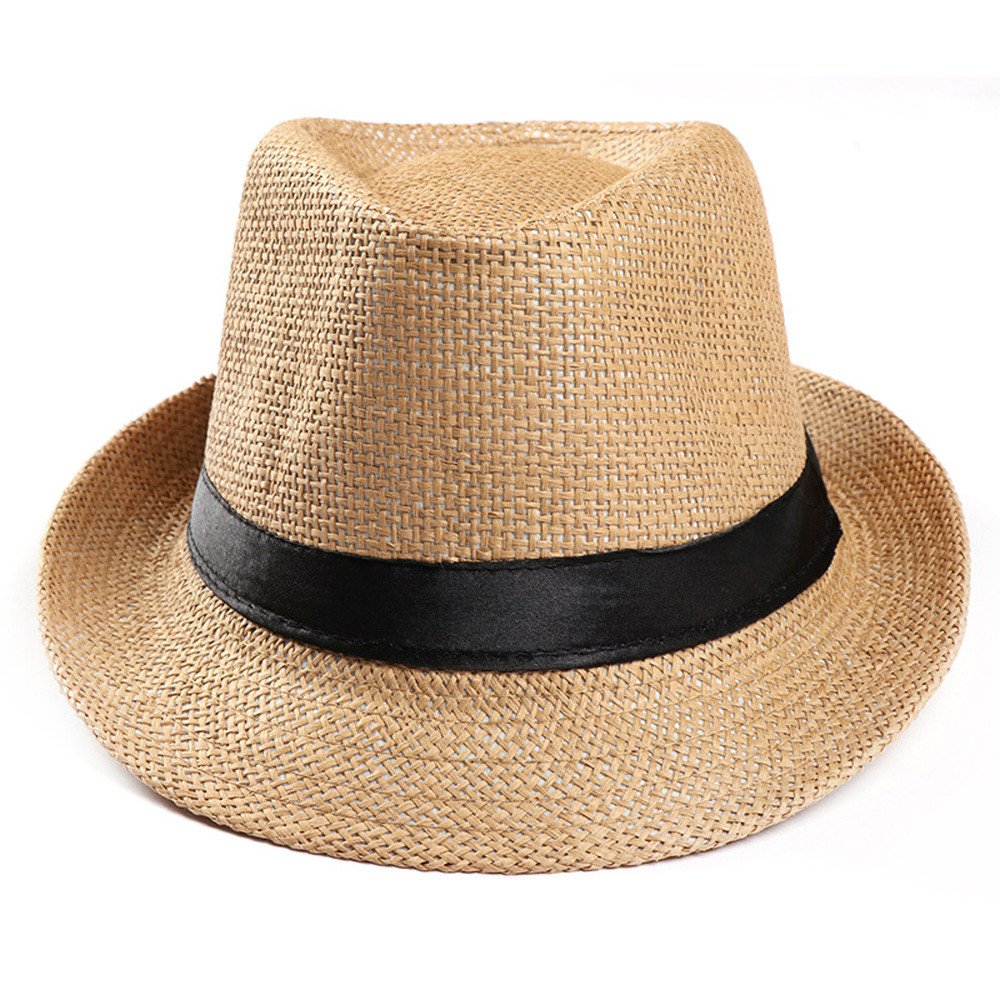 CapsA Foldable Summer Straw Hat Wide Brim Fedora Sun Beach Hat for Women Men