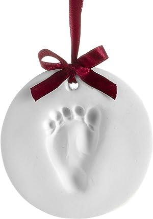 Pearhead Babyprints Baby's First Handprint or Footprint Ornament Kit, Easy No-Bake DIY, Christmas Baby Gift, 50010