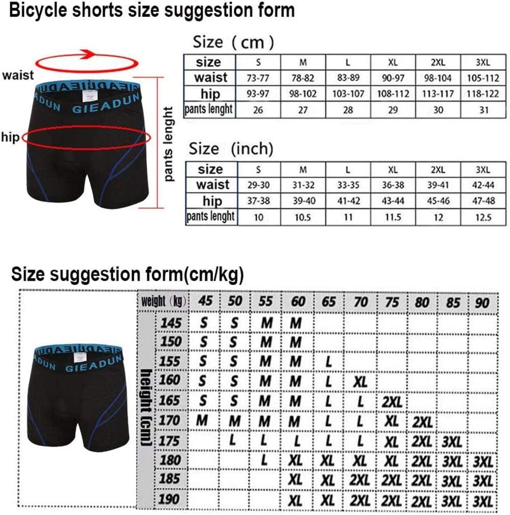DBG Pantalones Cortos de Ciclismo para Hombre Pantal/ón Cortos de Bicicleta de Monta/ña Transpirables de Gel Antideslizantes 5D