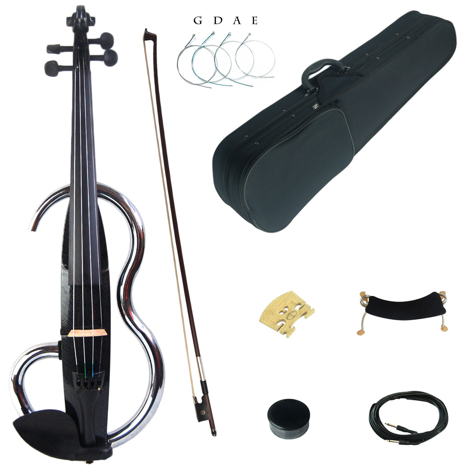 Kinglos 4/4 Black Colored Solid Wood Advanced Metal Electric / Silent Violin Kit with Ebony Fittings Full Size (JSDS1311) by Kinglos